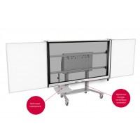 5-vlaks SMART Board onderstel op zwarte trolley met laptopplank, grijs